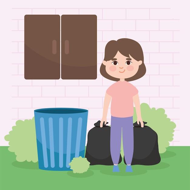 Fille sortant des sacs poubelles devant la fenêtre