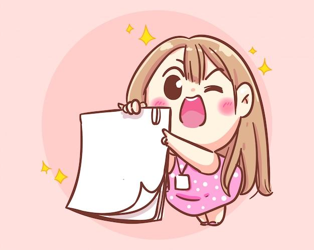 Fille souriante tenant illustration d'art de dessin animé de papier blanc vecteur premium