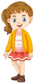Fille avec un sourire heureux sur blanc