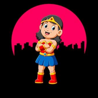Fille de super-héros avec sourire