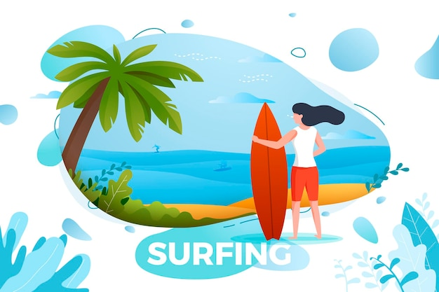 Fille de surf sur une plage. palmier, sable, océan sur fond. bannière, site, modèle d'affiche