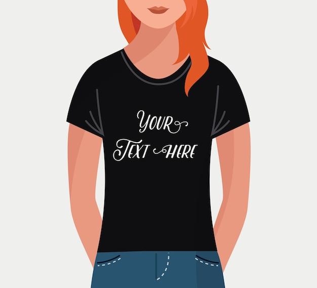 Fille avec t-shirt noir pour texte