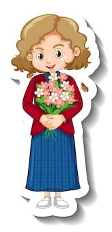 Une fille tenant un autocollant de personnage de dessin animé de bouquet