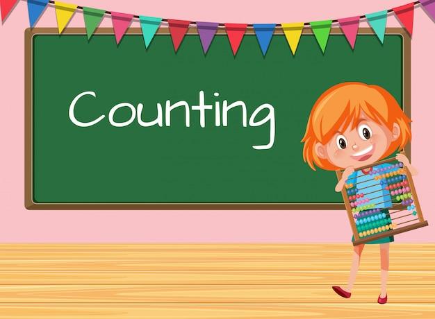 Une fille tenant un boulier sur la leçon de calcul