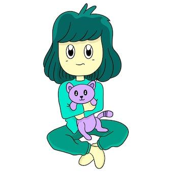 Une fille tenant un chat. autocollant mignon illustration de dessin animé