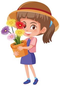 Fille tenant une fleur en personnage de dessin animé de pot
