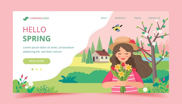 Fille tenant des fleurs avec paysage de printemps