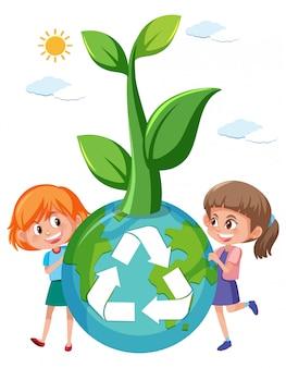 Fille tenant un globe de recyclage