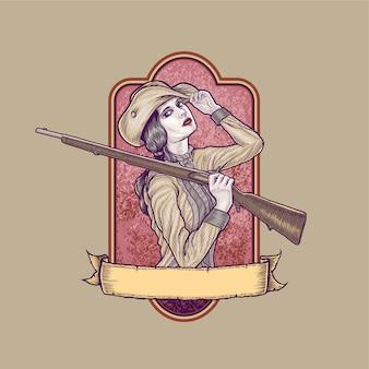 Fille tenant illustration vintage fusil