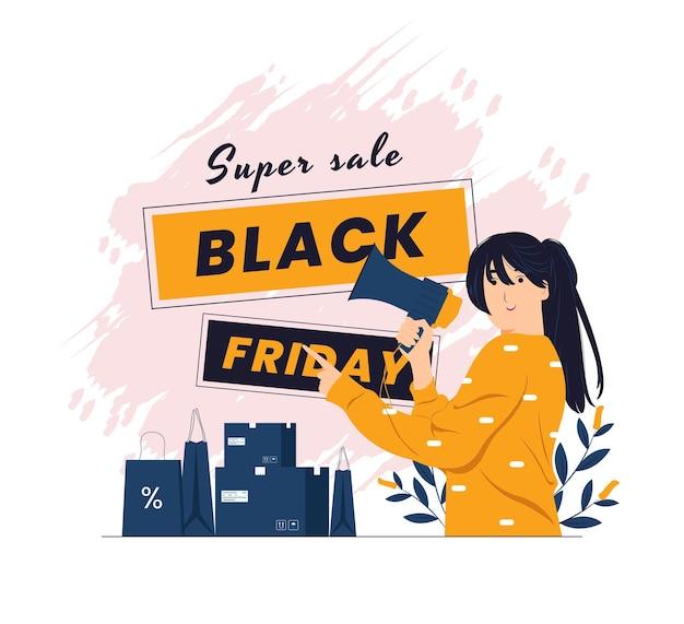 Une fille tenant un mégaphone se sentant heureuse et pointant sur l'illustration du concept du vendredi noir