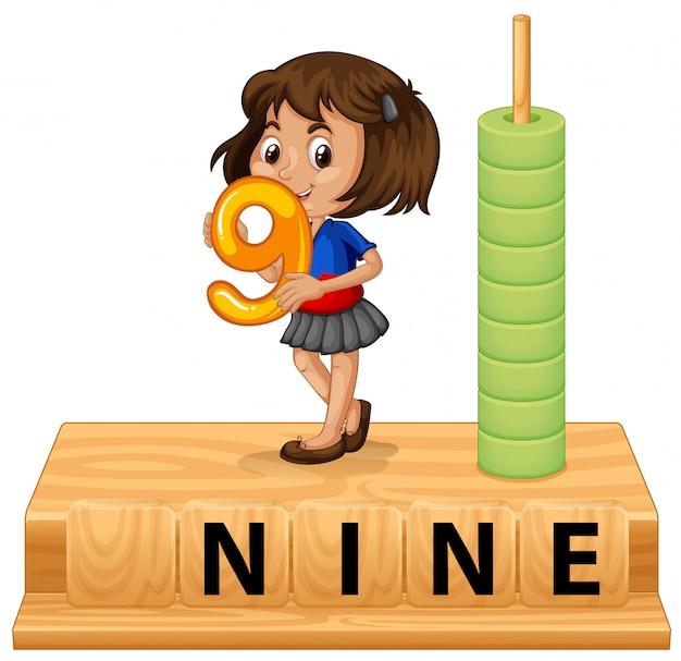 Une fille tenant le numéro neuf