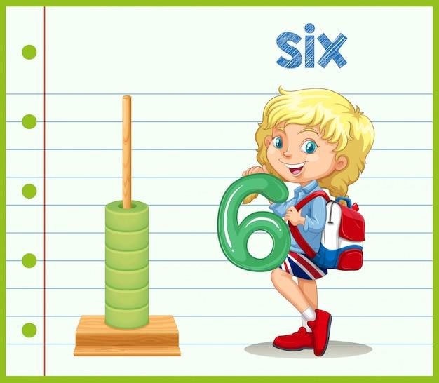 Une fille tenant le numéro six