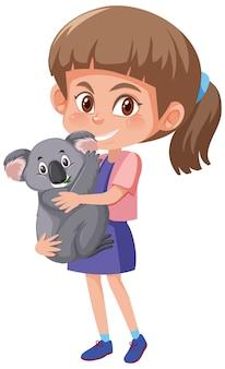 Fille tenant le personnage de dessin animé animal mignon isolé sur blanc