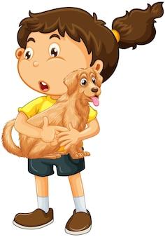 Une fille tenant un personnage de dessin animé de chien mignon isolé sur blanc