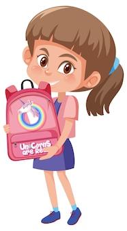 Fille tenant le personnage de dessin animé mignon sac à dos
