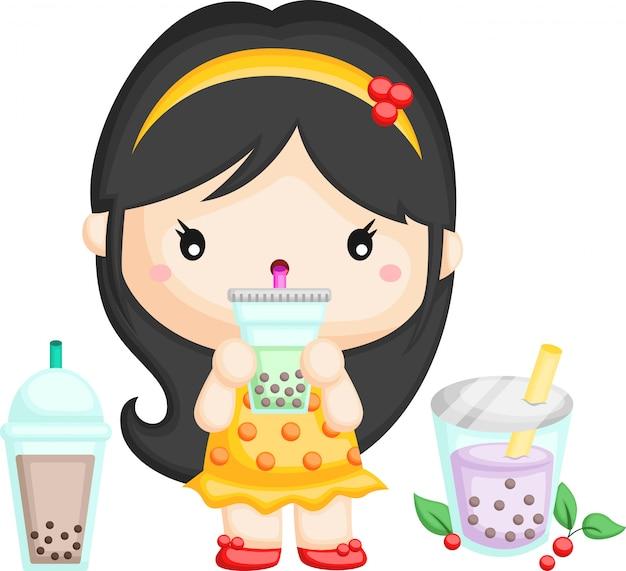 Fille et thé à bulles
