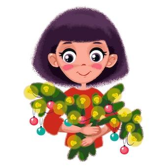 Une fille tient des branches d'un sapin ou d'un arbre de noël avec une guirlande de noël festive vector ar