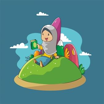 Une fille tient le coran