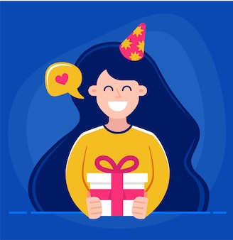 Fille tient dans ses mains un cadeau et souhaite joyeux anniversaire.