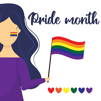 La fille tient le drapeau lgbt dans ses mains carte postale pour le mois de la fierté