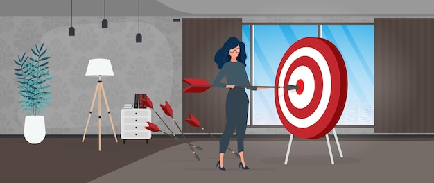 La fille tient une flèche. la flèche atteint la cible. le concept d'entreprise prospère, de travail d'équipe et d'atteinte des objectifs. vecteur.