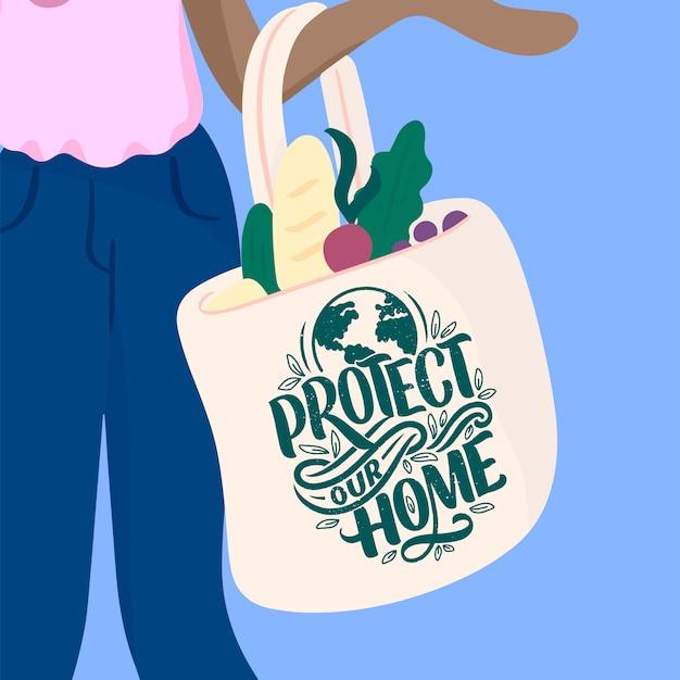 Fille tient un sac écologique réutilisable avec une citation de lettrage.