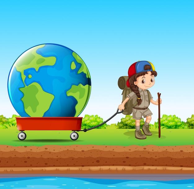 Fille tirant un globe dans un wagon rouge