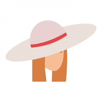 Fille de touriste avec tête de chapeau