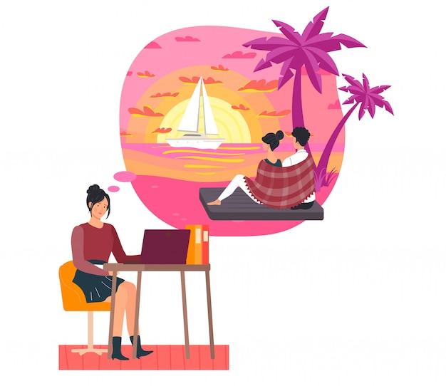 Fille travaille dur mais rêve date sur la plage, couple attrayant, femme et homme assis sur la plage, sur blanc, illustration.