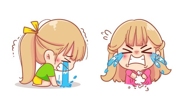Fille triste, pleurer, dessin animé, ensemble, illustration
