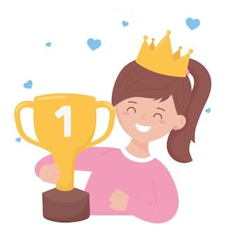 Fille avec trophée et couronne