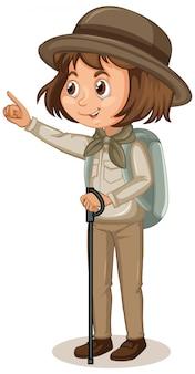 Fille en uniforme scout sur isolé