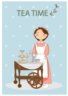 Fille en uniforme de service sert le thé et le dessert