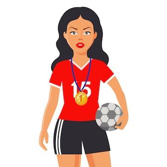Fille en uniforme sportif tient un ballon. une médaille d'or est suspendue à sa poitrine. illustration de caractère plat