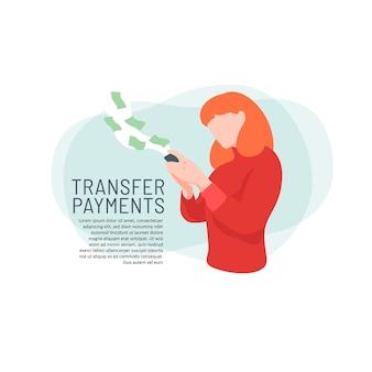 Fille en utilisant la boutique en ligne de paiement par transfert