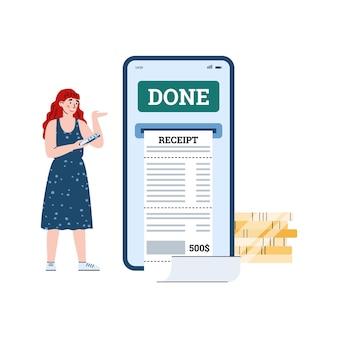 Fille utilisant une facture numérique électronique pour le paiement en ligne des reçus d'entreprise