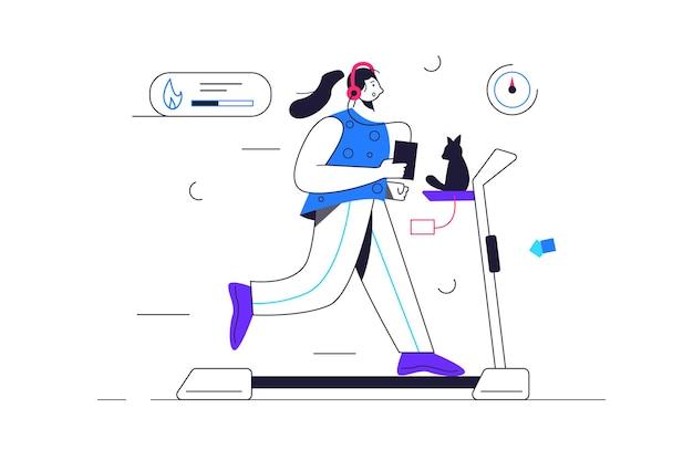 Fille va pour le sport en cours d'exécution sur un tapis roulant avec des écouteurs et un téléphone en mains, sports, perte de poids, isolé sur fond blanc, illustration plate