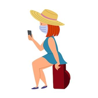 Une fille avec une valise et un masque attend son transport. voyager pendant l'épidémie et le covid-19. illustration vectorielle dans un style plat sur une couche isolée blanche.