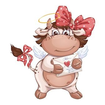 Fille de veau drôle avec un arc rouge tenant un message romantique dans une enveloppe avec un timbre de coeur.