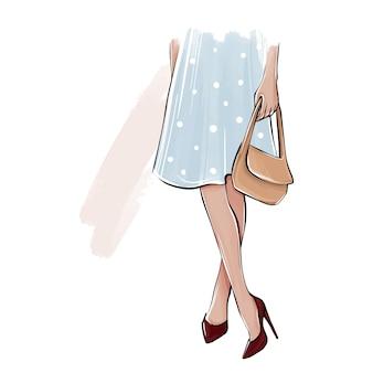 Fille de vecteur en talons hauts, robe avec sac. illustration de mode jambes féminines dans les chaussures. conception girly mignonne. tenue élégante.