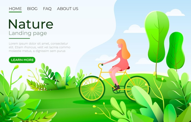 Fille sur un vélo se promène le long du chemin, la nature en été. page de destination