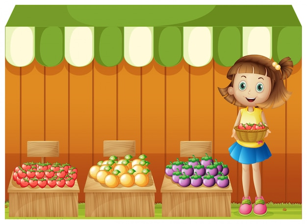 Une fille vendant des fruits différents