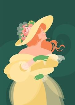 Une fille vêtue d'une robe jaune duveteuse du 18-19ème siècle se tient debout et tient une écharpe dans des gants verts. les cheveux roux se développent au vent. illustration colorée dans un style cartoon plat.