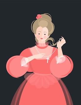 Une fille vêtue d'une robe rouge duveteuse du 18-19ème siècle montre des perles avec une croix. les cheveux se développent. portrait mignon. illustration colorée dans un style cartoon plat.