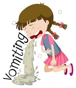 Fille vomissant et se sentant malade