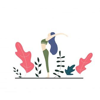 Fille de yoga et fleurs de vecteur