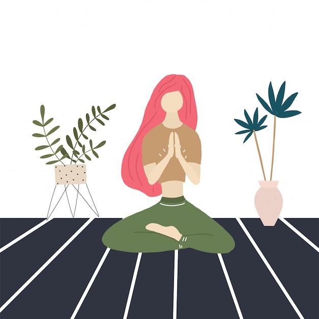 Fille de yoga et palmiers à la maison