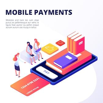 Les filles achètent des livres dans l'application mobile avec le concept de style isométrique de carte de crédit