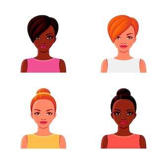 Filles afro-américaines et rousses avec différentes coiffures.