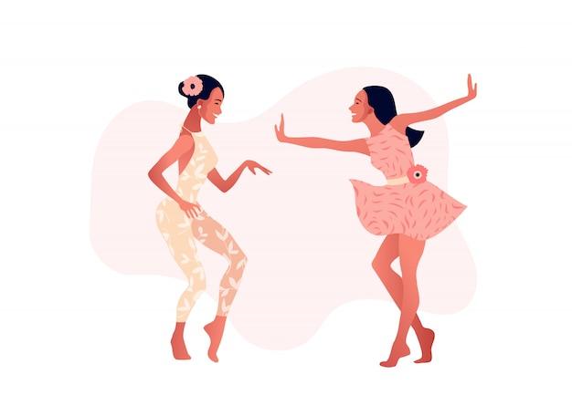 Filles ou amis heureux dansant.